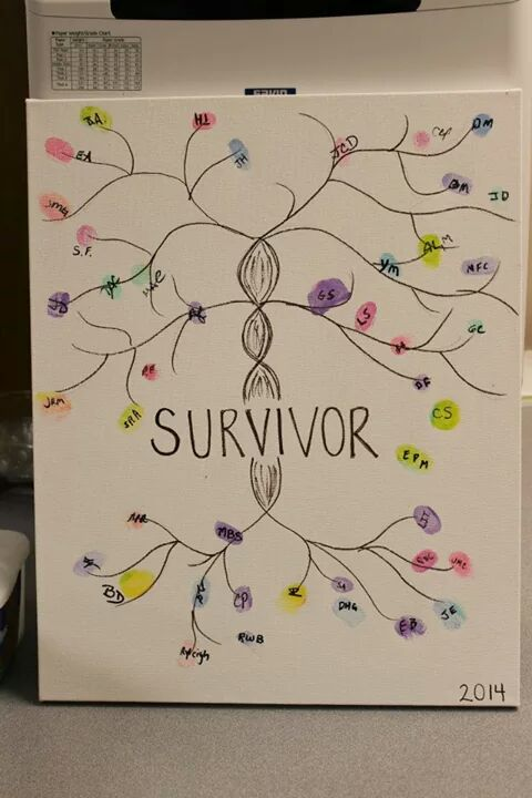 Thumbprints of survivors and their caregivers were added to a canvas at the event.